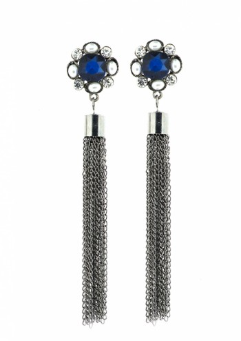 Blue Chain Tassele Earring